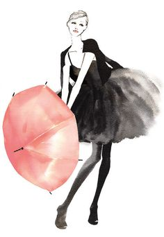 watercolor black and white fashion with pink umbrella
