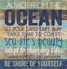 Advice from the Ocean Distressed Design 24 x 25 Wood Pallet Wall Art Sign Plaque… – 2019 - Pallet ideas Beach Cottage Style, Beach House Decor, Beach Wall Decor, Pallet Wall Decor, Pallet Wood, Pallet Art, Small Pallet, Pallet Walls, Wood Pallets