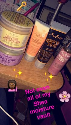 Very important to have a oil cleanser for dry skin, a facial exfoliant, body exfoliant and hair mask omg with curl enhancer!✨