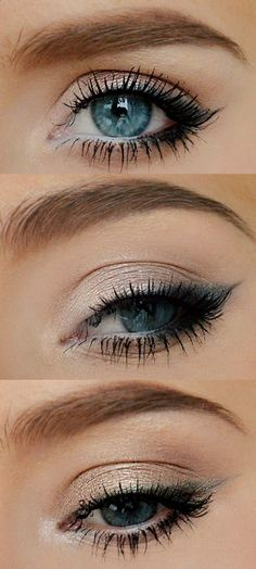 1 Look (on top) Naked 2 -booty call(tear duct+1\3 of the eye) -YDK (2\3) -Maybelline black gel liner + blackout (the wing and on the bottom 1\3 of the eye) -snakebite (the crease) -white Jumbo pencil  by NYX  2 Look (middle) Naked 1 -virgin (the lid, tear duct, underneath the eye) -gunmetal (the wing)  3 Look (the bottom) Naked 2+Naked 1 -suspect (the lid) -pistol (liner) -buck (the crease) -virgin (tear duct)  Every time I applied Maybelline the Colossal Smoky Eyes and then the Rocket…