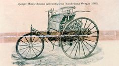 Mercedes-Benz Vintage Ad: The world's first automobile advertisement from 1888 shows the patented motor car (detail).