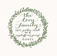 Beautiful personalized calligraphy holiday wreath return address stamp.