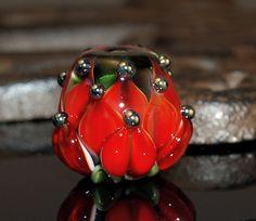 red water lily bead  handmade glass bead SRA von CorneliaLentze, $24,00