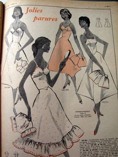 Lingerie from the 1957, fashion magazine (L Echo DE LA Mode 1957 N° 26 Revue Ancienne Couture Broderie Tricot) | eBay