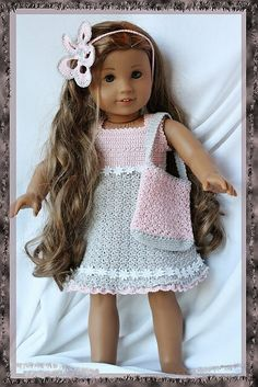 18' dolls. American Doll Clothes, Ag Doll Clothes, Crochet Doll Clothes, Knitted Dolls, Doll Clothes Patterns, Crochet Dolls, Doll Patterns, Crochet Dresses, Dress Patterns