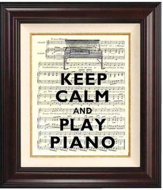 Keep calm and play piano  Print on old french music by DigiMarthe, $11.00