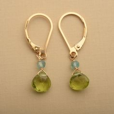 Peridot Earrings, August Birthstone Earrings, Green Gemstone Earrings, Healing Gemstone Earrings