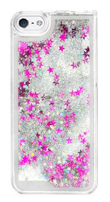 Silver Star Glitter Waterfall Phone Case