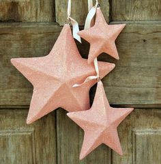 love this for Christmas, or 4th of July.. glittered star ornaments. seen on Heather Bullard.