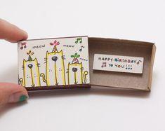 "Cat Birthday Card/ Party Birthday Matchbox/ Cat Birthday Gift/ ""Happy Birthday to you""/ - - Cat Birthday Card/ Party Birthday Matchbox/ Cat Birthday Gift/ ""Happy Birthday to you""/ Geburtstagskarte Katze / Party Geburtstag Matchbox / Katze Cute Birthday Cards, Bunny Birthday, Birthday Greeting Cards, Birthday Greetings, Birthday Gifts, Surprise Birthday, Matchbox Crafts, Matchbox Art, Cute Gifts"