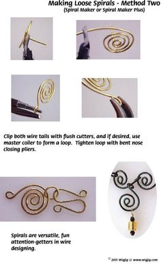 Making spirals in jewelry wire jewelry making technique using WigJig tools and jewelry supplies.