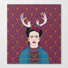 DEER FRIDA Stretched Canvas by Bianca Green - $85.00