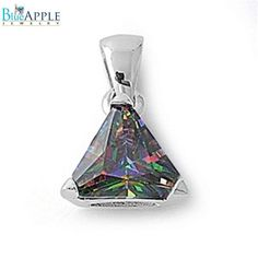 4.74CT Triangle Cut Rainbow Mystic Topaz CZ Solitaire Pendant Charm For Necklace 925 Sterling Silver Classic Jewelry Charm Mothers Gift