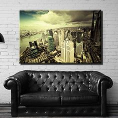 Large Overal Box Framed Canvas Print Wall Art Decor Room Artwork Stretched Wrapped Painting Decorative Modern Home & Living New York Ny City Metropolis Buildings Skyscrapers Sky Clouds Framed Canvas Prints, Artwork Prints, Canvas Frame, Poster Prints, Decor Room, Wall Art Decor, Sky And Clouds, Skyscrapers, Box Frames
