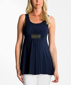 Look at this #zulilyfind! Navy Gathered Eva Maternity Tank #zulilyfinds