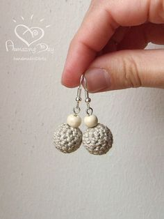 MINI LINEN EARRINGS Crochet Rustic Grey Earrings Natural gift Crochet bead Jewelry. Dangle Linen crochet ball earrings. Small Eco Earrings ................................................................................................................ These natural Earrings are Perfect for You! They will make You shine and help to feel the Nature! :) Unique GIFT for Unique Women! - Mom, Grandmother, Wife, Friend, Sister... :) Give Gift filled with Positive Thoughts - Give Amazing Day!!! .