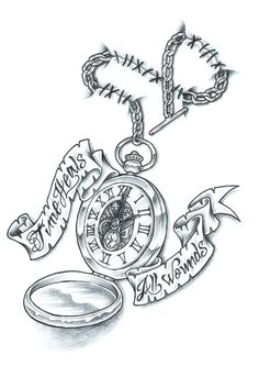 """I was looking through some flash sheets and saw an hourglass design with the saying """"Time heals all wounds"""".it was very basic.so I put my own STANK . Time Heals All Wounds Pocket Watch Tattoos, Pocket Watch Tattoo Design, Clock Tattoo Design, Tattoo Designs, Pocket Watch Drawing, Tattoo Ideas, Great Tattoos, New Tattoos, Body Art Tattoos"""