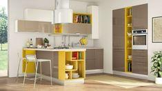 modèle de placard avec four et mobilier de cuisine avec étagère ouverte