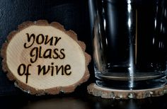 Handcrafted 'Glass of Wine' Woodburned Coasters by ZSDesign