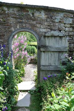sigh secret garden archway door and lovely old stone wall   swooning big time x