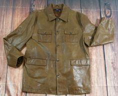 Gap Mens Size XL Brown Button Up Leather Jacket Distressed Style | Clothing, Shoes & Accessories, Men's Clothing, Coats & Jackets | eBay!