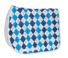 Léttia Argyle A/P Saddle Pad - White & Blue - 1328 - $49.99