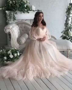 Elegant A Line Off the Shoulder Blue/Pink Prom Dresses with Long Sleeves – Schwanger Kleidung Indie Wedding Dress, Pink Wedding Dresses, Wedding Dress Trends, Country Wedding Dresses, Wedding Dress Sleeves, Bridal Dresses, Lace Dress, Dresses Dresses, Wedding Gowns
