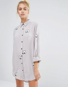15b82a47c17b7 Lazy Oaf Oversized Shirt With Eyes All Over Print at asos.com