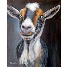 Goats Nigerian Dwarf Goat Farm Art print Goat Art by Goat Paintings, Animal Paintings, Animal Drawings, Tier Wallpaper, Animal Wallpaper, Farm Animals, Cute Animals, Goat Art, Nigerian Dwarf Goats