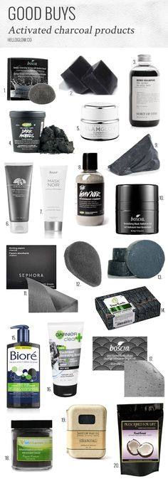 """20 Awesome Activated Charcoal Products. Have you heard of activated charcoal and its amazing benefits? Long used for bee stings and poisonings, activated charcoal has an amazing ability to remove toxins from the body. Now people are using it to treat acne, improve skin, relieve upset stomachs and even whiten teeth. No wonder there are so many great activated charcoal products! Would you put charcoal on your face? If you're willing to give it a try, here are 20 of the best beauty buys!"""