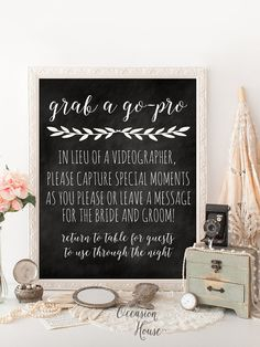 Printable Chalkboard wedding photo booth sign, grab a go-pro, wedding video grapher sign, wedding signs, photo booth, 8x10, GP03