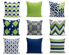 Outdoor Pillows, Navy Pear Green White Grey, Outdoor Home Decor, Outdoor Throw Pillows