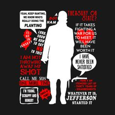 Shop Alexander Hamilton Quotes broadway t-shirts designed by ivyarchive as well as other broadway merchandise at TeePublic. Hamilton Broadway, Hamilton Musical, Alexander Hamilton Quotes, Pixar, Funny Relatable Memes, Funny Quotes, Hamilton Drawings, Hamilton Wallpaper, Don Mclean