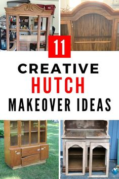 Amazing updates that will transform your hutch into WOW Diy Furniture Flip, Refurbished Furniture, Repurposed Furniture, Furniture Makeover, Furniture Projects, Vintage Hutch, Painted Hutch, Small Craft Rooms