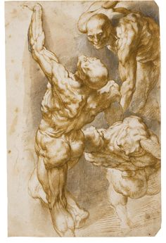 Sir Peter Paul Rubens (1577-1640) Antwerp, Anatomical Studies of Three Male Figures,  Pen and brown ink and wash and black chalk