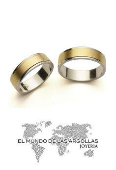 Modelo: A-C55146M - Argolla oro blanco y amarillo 14k macizo mate y pulido 6mm #ArgollasDeMatrimonio