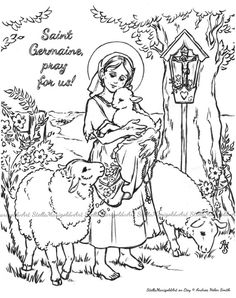 Saint Germaine Cousin  Coloring Page by StellaMarigoldArt on Etsy