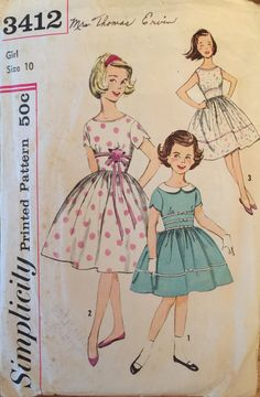 """VTG 3412 Simplicity (1960) girl's one piece dress.  Girl's Size 10, Breast 28"""".  Complete, unused, neatly cut/FF. Excellent condition. by ThePatternParlor on Etsy"""