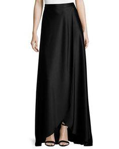 B3EQC St. John Collection Liquid Satin Faux-Wrap Gown Skirt, Caviar