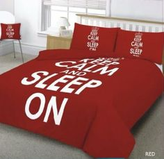 """3PC RED """"KEEP CALM AND SLEEP ON"""" SUPER KING SIZE BEDDING SET - INCLUDING DUVET COVER AND PILLOWS: Amazon.co.uk: Kitchen & Home"""