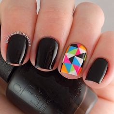 A neon accent nail can brighten up even the darkest #Monday. #manimonday #blackonyx #opineons  @lifeisbetterpolished