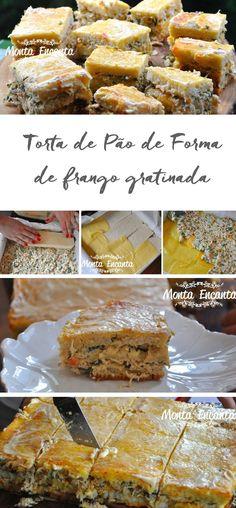 Torta de pão de forma dá água na boca, recheio de frango e requeijão, gratinada no forno ... perfuma a casa. Tão fácil e tão boa ...