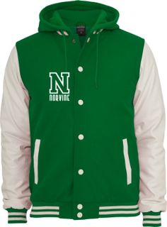 Hooded Oldschool College Jacket - Green & White