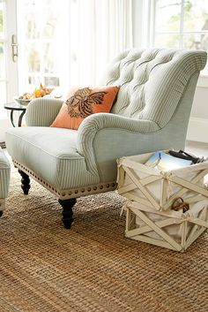 Seersucker is the go-to fabric for keeping your cool in tropical climates, which makes it a natural choice for a breezy coastal look in your living room. Overstuffed and tufted, Pier 1's dandy Chas Armchair keeps its cool with vintage, handcrafted charm to spare.