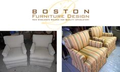 Club Chairs Reupholstered By Boston Furniture Design; New Englands Source  For Quality Upholstery. For