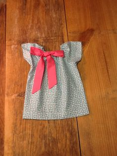 Girls Peasant Dress OR Top with Removable Fabric Bow Detail. Aqua White Greek Key. Pink Bow. Or your choice any colors. By EverythingSorella by EverythingSorella on Etsy