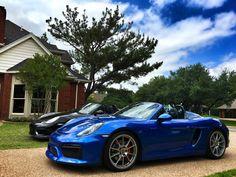 "Black 2011 Porsche Boxster Spyder Blue 2016 Porsche Boxster Spyder ""Two Spyders"" (Photo by Ian Szysh) #MavPCA #PCA #Porsche #PorscheBoxster #PorscheBoxsterSpyder"