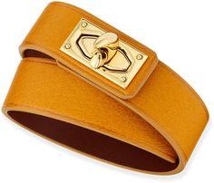 Givenchy Calfskin Leather Wrap Bracelet, Mustard on shopstyle.com
