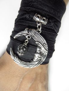 Bohemian Crescent Moon Silk Wrap Bracelet Yoga Jewelry by HVart, $27.99