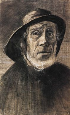 1883 Vincent Van Gogh Fisherman with a Sou'wester Graphite, lithographic crayon, Ink and watercolor 47.2x29.4 cm Amsterdam, Van Gogh Museum